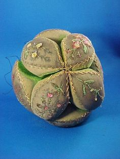 Antique Early Large Amish Velvet Puzzle Ball Pin Cushion, Embroidered, Filled wit Sand