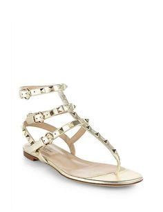 VALENTINO Rockstud Metallic Leather Thong Sandals