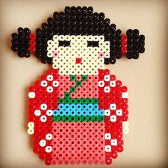 Kokeshi perler beads by perlercreations