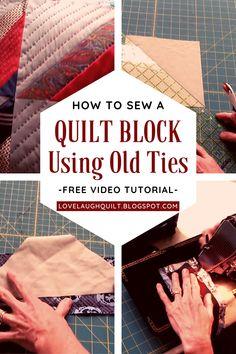 Diy Necktie Projects, Mens Ties Crafts, Cute Sewing Projects, Tie Crafts, Quilting Tips, Hand Quilting, Quilting Projects, Necktie Quilt, Shirt Quilts