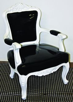 Black and white regency chair