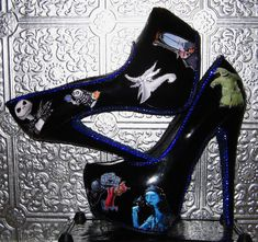 Tim Burton's nightmare before christmas black stilettos with blue crystal rhinestones and glittered soles
