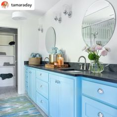 Fun pops of color and classy cabinet hardware! #repost • @tamaraday This 1986 Colonial Farmhouse turned out so picturesque! Especially compared to the before 😂 I really don't know if I can choose a favorite room in this house, I just loved how it all came together. #cabinethardware #chromeaccents #nostalgicwarehouse #hgtv #brasshardware #brassdecor #interiordecor #bathroomstyle Brass Cabinet Hardware, Cabinet Paint Colors, New Cabinet, Vinyl Wallpaper, Shower Floor, Painting Cabinets, Built Ins, Timeless Design, Home Accessories