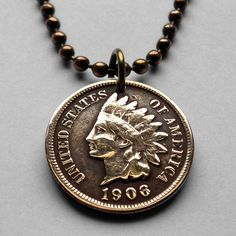 antique! USA Indian Head One Cent coin pendant NATIVE AMERICAN penny n000807 #coinedJewelry #Pendant