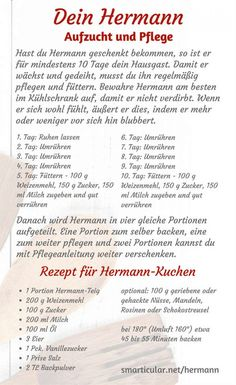 He& back: make Hermann dough yourself- Er ist wieder da: Hermann-Teig selber machen Do you still remember Hermann? With a few ingredients, you can make the sweet sourdough yourself, bake it and give it to friends! Meat Recipes, Baking Recipes, Cookie Recipes, Brownie Recipes, Sweet Bread Meat, Gateaux Cake, Le Diner, Baking Ingredients, Bread Baking