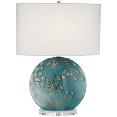 Finish: Blue SeaShade: White Linen OvalShade Size: Top x Bottom x HWattage: 1 x 150 WBulb/Socket Type: Medium Base [Bulb(s) not included]Switch Type: On/OffProduct Dimension: H x WStyle: Coastal BeachItem: Turquoise Table, Torchiere Floor Lamp, Contemporary Table Lamps, Lamp Sets, Pacific Coast, Drum Shade, Light Table, Lighting, 10 Top