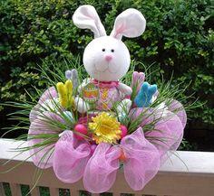 Easter Centerpiece, Easter Bunny Decoration, Easter Floral Arrangement, Easter Table Decor. $175.00, via Etsy.