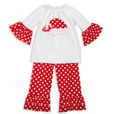 White Minky Red Dot Ruffle Pant Set
