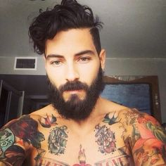 Hipster men, beard, tattoos, curly hair, muscles