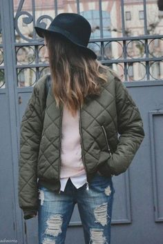 Quilted bomber jacket.