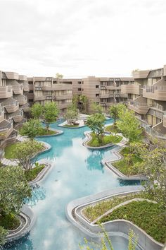 hotel landscape Baan San Ngam in Hua Hin, Thailand Landscape Architecture Design, Sustainable Architecture, Classical Architecture, Ancient Architecture, Pool Water Features, Facade Design, Urban Planning, Pool Landscaping, Urban Landscape