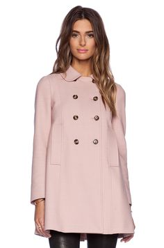 In my coat-obsessed dreams...Red Valentino Wool Double Breasted Coat in Nude | REVOLVE