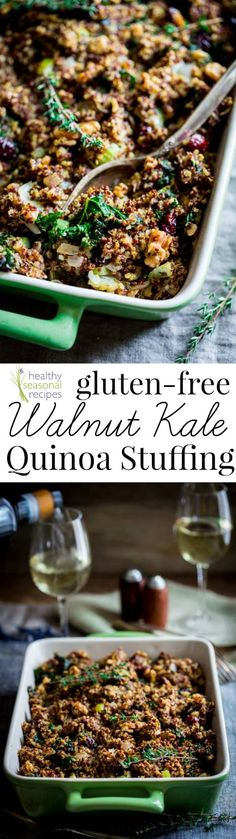Here is an easy, healthy and gluten-free twist on Thanksgiving stuffing. This quinoa stuffing is mixed with kale, walnuts, dried cranberries and sage. The flavors are traditional, but there is no bread or gluten. Gluten Free Thanksgiving, Thanksgiving Stuffing, Thanksgiving Recipes, Fall Recipes, Holiday Recipes, Whole Food Recipes, Cooking Recipes, Holiday Meals, Dinner Recipes