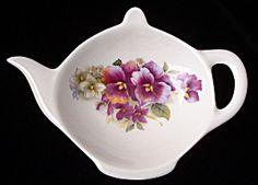 bone china tea strainer   Teapot Shape Tea Bag Caddy Pansy England Bone China (Image1)