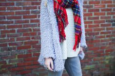 1310bynora.com Outfit | Red tartan scarf and greys. Details: Grey fluffy coat / red scarf / H&M knit /