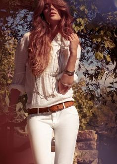 White shirt, white jeans and tan belt