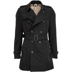 Burberry The Kensington Medium-Length Heritage Trench Coat ($1,440) ❤ liked on Polyvore featuring men's fashion, men's clothing, men's outerwear, men's coats, black, mens cotton trench coat, men's cotton sport coat, mens trench coat and burberry mens coat