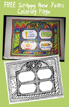 FREE New Years Coloring and Goals Worksheet