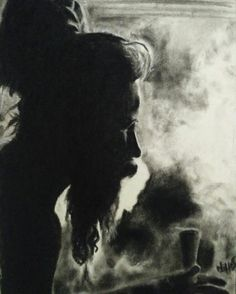 'sadu'  charcoal drawing,  experiment with smoke.  Nihas art,  drawn from photo reference.