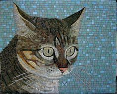 Whew! Done. I mixed Hemp and DeLorean Gray grouts. I like what it did to the lighter areas, it looks more mosaic-y...