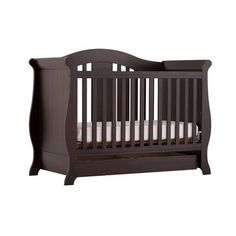 The Furniture Store Storkcraft Vittoria 3 in 1 Fixed Side Convertible Crib in Espresso KD1678   $355
