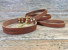 Personalized Brown Leather Dog Collar with Matching Leash and