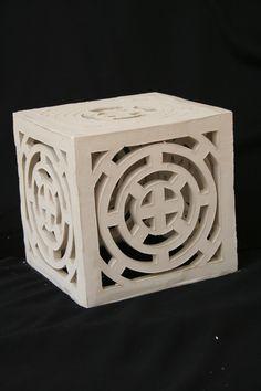 Pre-fire Ceramic Lantern - Froehlich Arts - P. Slab Pottery, Ceramic Pottery, Ceramic Art, Ceramic Lantern, Ceramic Light, Ceramic Techniques, Pottery Techniques, Ceramics Projects, Clay Projects