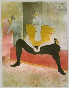 Henri de Toulouse-Lautrec (French, 1864–1901). The Seated Clowness (Mademoiselle Cha-u-Kao), 1896. The Metropolitan Museum of Art, New York. Alfred Stieglitz Collection, 1949 (49.55.50) | The success of Toulouse-Lautrec's posters advertising Parisian cabarets such as the Moulin Rouge led him to produce deluxe editions of prints of Montmartre's performers, such as this one of the clown and dancer Cha-u-Kao. #dance
