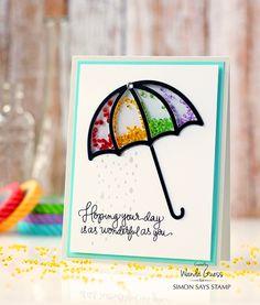 Umbrella Shaker Card. Wanda Guess for Simon Says Stamp! Rainbow gems and handwritten greetings.
