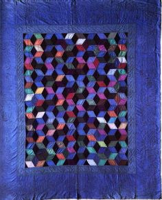 Amish quilt, Tumbling Blocks-Holmes County, OH c.1930