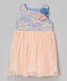 Love this Peach & Blue Lace Babydoll Dress - Infant, Toddler & Girls on #zulily! #zulilyfinds
