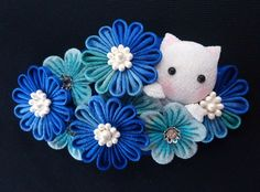 Wonderful Flowers, Kanzashi Flowers, Diy Ribbon, Fabric Flowers, Hair Bows, Craft Projects, Hair Accessories, Japanese, My Favorite Things