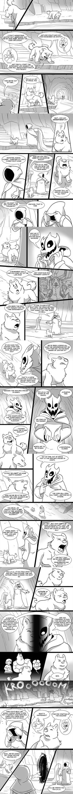 e926 2016 absurd_res ambiguous_gender anthro boat canine comic eyes_closed feral flora_fauna flower flowey_the_flower gaster_blaster greatest_dog hi_res hood human humanoid inner_monologue lynxgriffin male mammal plant protagonist_(undertale) river_person_(undertale) skull speech_bubble text ultradog_(undertale) underground undertale vehicle video_games water