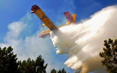 A firefighting tanker plane drops water above a forest fire near Lacanau, France