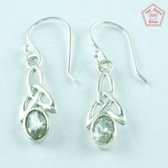 CUBIC ZIRCONIA STONE 925 STERLING SILVER EARRINGS FOR GIRL'S E3001 #SilvexImagesIndiaPvtLtd #DropDangle