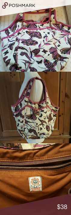 Lucky brand canvas purse Very cute Canvas lucky brand tote with butterflies great colors for all seasons EUC Lucky Brand Bags Satchels