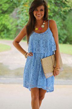 Eyelet Love Dress, Light Blue