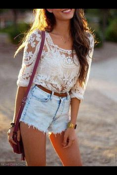 High wasted shorts with lace long sleeve shirt