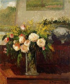 """""""Roses of Nice""""  --  1902  --  Camille Pissaro  --  French  --  Oil on canvas  --  Private Collection."""