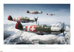 'Emil's over the Alps' Swiss Air Force Me by Adam Tooby Ww2 Aircraft, Fighter Aircraft, Military Aircraft, Fighter Jets, Me 109, Luftwaffe, De Havilland Vampire, Air Force, Swiss Air