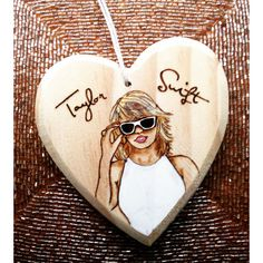 Taylor swift Christmas ornament, taylor swift art, taylor swift... ($30) ❤ liked on Polyvore featuring home, home decor, wooden home decor and wood home decor