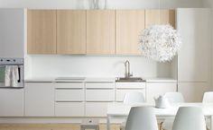 cuisine ikea - bicolore blanc en bas + bois en haut