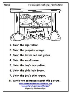 This following directions worksheet provides great reading and writing practice for beginners.  See more at pinterest.com/susankhansen/
