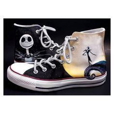 Nightmare Before Christmas Shoes Hand Painted Shoes, Custom Converse F ❤ liked on Polyvore featuring shoes, converse shoes, christmas shoes and converse footwear