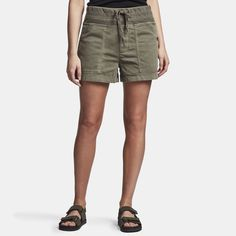 James Perse Cotton Slub Military Short is made in a slub textured cotton that has been treated with extra softener for a soft, lived in feel. Style details include a wide elasticated waistband with drawcord, faux fly and front slash pockets with button cl Military Shorts, Back Patch, James Perse, Cotton Bag, Seychelles, Closure, Pockets, Button, Detail