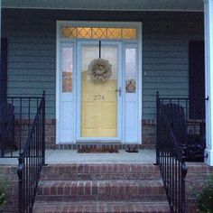 our new yellow front door… amazeballssss this is it. This is the color I want… our new yellow front door… … Front Door With Screen, Front Door Entrance, House Front Door, Entrance Ways, Front Door Decor, Entry Doors, Front Porch, Purple Front Doors, Yellow Doors