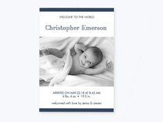 Baby Boy Or Girl Birth Announcement Stripe Photo Invitation PDF Template