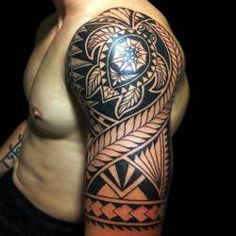 Maori tribal tattoo half sleeve designs