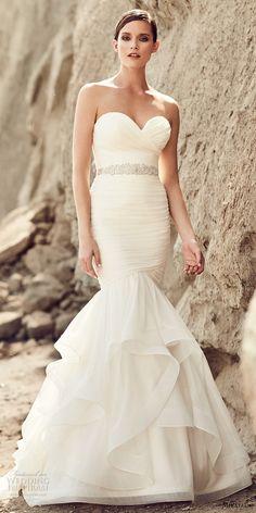 mikaella spring 2017 bridal strapless sweetheart neckline ruched bodice elegant mermaid wedding dress chapel train (2111) mv -- Mikaella Bridal Spring 2017 Wedding Dresses