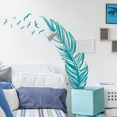 Liven up your walls with this Feather with Birds Wall Decal. It looks great in your bedroom or living room as well as any other rooms in your home, office or shop. You can rotate and place the feather as you wish. Dandelion Wall Decal, Bird Wall Decals, Butterfly Wall Decals, Wall Decals For Bedroom, Wall Decal Sticker, Wall Stickers, Bedroom Decor, Wall Drawing, Kids Decor